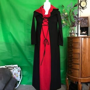 Witchy-looking hooded dress black over red.  XL